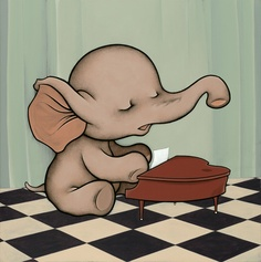 Baby Grand by Kurt Halsey perfect for Ozzys room Elephant Love, Elephant Art, Animal Drawings, Cute Drawings, Drawing Animals, Kurt Halsey, Collages, Elephants Never Forget, Pets 3