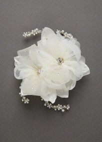 Love  #DBBridalStyle   This flower comb fits perfectly into any updo for that effortless bride. The crystal and pearl sprays add the perfect amount of sparkle!�   Two exquisite organza flowers are adorned with horse hair accents and feature swarovski crystals and pearl sprays on each end.  Available in White and Ivory. Imported.