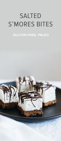 (gluten-free, paleo) Salted s'mores bites with homemade marshmallow are a delicious bite-sized snacks.