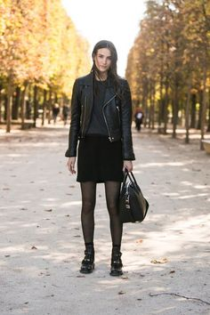winter outfit idea leather jacket tights boots square