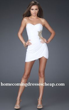 La Femme Style 16711 Cheap White Curvy Tucked Applique Dress