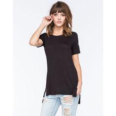 Full Tilt Essential High Slit Womens Tee ($15) ❤ liked on Polyvore featuring tops, t-shirts, black, black top, black tee, black t shirt, full tilt tops and high slit tee