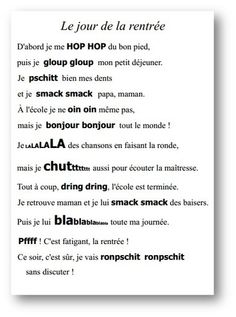 Ma po sie de rentr e Ma po sie de rentr e French Teacher, Teaching French, French Poems, Core French, French Classroom, Kindergarten Lesson Plans, French Resources, French School, Learn French