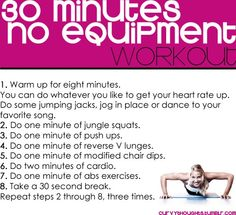 30 min workout with NO equipment! I'll have to look up 5 but this looks like a good fitness routine! Fitness Motivation, Fitness Diet, Health Fitness, Daily Motivation, Fitness Sport, Fitness Fun, Fitness Goals, 30 Min Workout, Workout Exercises