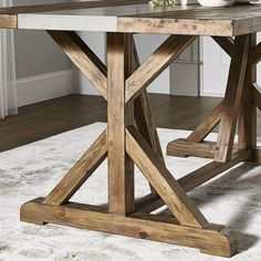Alcott Hill Fanning X Base Dining Table Dining Table Sale, Trestle Dining Tables, Solid Wood Dining Table, Extendable Dining Table, Table And Chairs, Banquette Table, Farm Tables, Kitchen Tables, Home Renovation