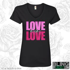 Love is Love, Valentine Shirt, Valentines Day Bling T-Shirt, V-Day Shirt, Valentines Gift, Love Tee, Glitter Love T-Shirt by BlingByCricket on Etsy
