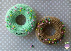 New Crochet Pattern!   Easy Peasy Amigurumi Donuts!!!     Yarn:   Beige/Buff Red Heart Super Saver   Chocolate/Coffee Latte Red Heart Sup...