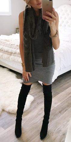 #winter #outfits  gray knit scarf and pair of black knee high boots