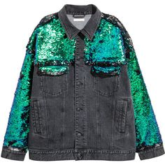 Sequined Denim Jacket $99 ($99) ❤ liked on Polyvore featuring outerwear, jackets, oversized collar jacket, green jacket, green sequin jacket, green jean jacket and button jacket