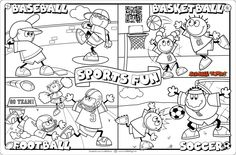 Here's a Sports Fun Scribble Art Activity Sheet. Print it, color it and get Scribbley with it!