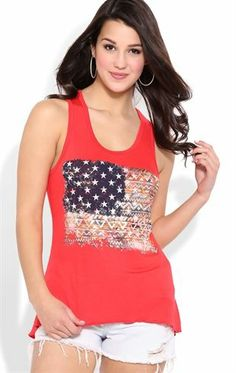 Deb Shops High Low Tank Top with Tribal American Flag Screen $14.25