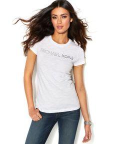 MICHAEL Michael Kors Short-Sleeve Metallic Logo Tee