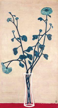 常玉作品---藍菊與玻璃瓶