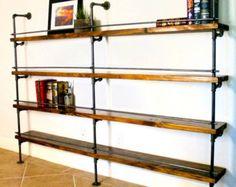 Industrielle bibliothèque industriel étagère, industriel Bar, étagères industrielles, étagère tuyau w / option de bois récupéré