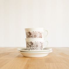 Finland Arabia Elina Cup & Saucer set by Esteri by KuriosaEurope Cup And Saucer Set, Finland, Tea Cups, Mugs, Brown, Unique Jewelry, Tableware, Handmade Gifts, Etsy