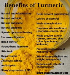 Often overlooked, turmeric has a WEALTH of positive health benefits.  Add it to foods or take in capsule form!