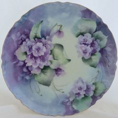 Hand Painted Double Violets Haviland Limoges Ranson Coupe Plate Gold Rim Signed