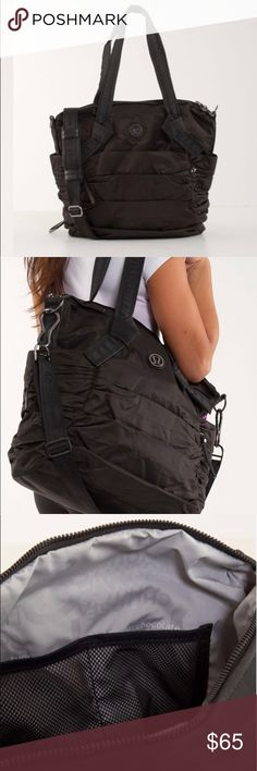 d8a230b3fb38 Lululemon Triumphant Bag - Black Great gym bag but can also be used as a  work bag because it has a laptop compartment. It would probably make a  great diaper ...