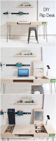 Check out this idea for a #DIY modern flip desk. Looks easy enough! #HomeDecorIdeas @istandarddesign