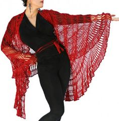 Andalusia is a convertible #crochet shawl worked in a combination of broomstick and hairpin lace