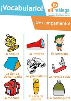 If you go #camping with #friends, make sure that you tick these #items on your checklist :D #SpanishSchool #SpanishVocab #LearnSpanish