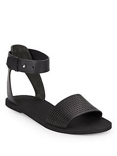Sawyer Perforated Leather Ankle-Strap Sandals