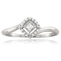 10k White Gold Princess-cut & Round Diamond Promise Ring (1/8 cttw, H-I, I2-I3)