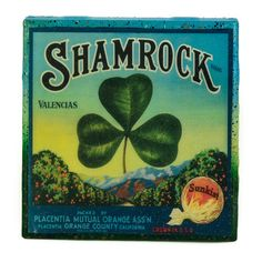 A Shamrock Citrus Crate label image from Placentia Orange County California, adorns this classy handcrafted coaster made with a handpainted upcycled tile.     Antique advertising art is scanned, digitally enhanced, and restored, so that this piece of history can be forever remembered and preserved within a Stella Divina coaster displayed in your home.       Coasters are:   - waterproof & alcohol proof.   - heat resistant to 200 degrees   (great for a coffee, not for a hotplate.)…
