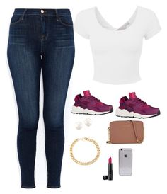 """""""Untitled #3"""" by babykvsh ❤ liked on Polyvore featuring NIKE, J Brand, Laura Geller, Alessandra Rich and Michael Kors"""