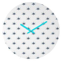 Social Proper Bla Blomst Round Clock | DENY Designs Home Accessories