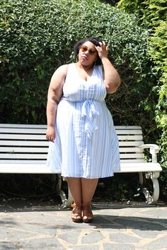 Plus Size Fashion, Girly Fashion, Plus Size Style, Plus Size Looks, Clothing from Lane Bryant. Striped Dress All Looks are reviewed on my blog at www.mayahcamara.com #plussizeall