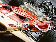 Graham Hill ''Mister Monaco'' by Colin Carter. Graham Hill won two World Championships during his distinguished career. In 1962 driving for BRM he beat Lotus Jim Clark to the world title in the last race of the season and in 1968 in spite of the death of his team-mate Jim Clark he brought the World Championship to the Lotus team. Original painting by Colin Carter. Print is limited to 250 examples. Measures 70 x 90cm.