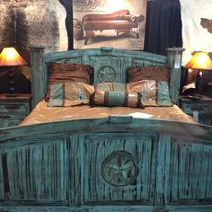 Rustic bed, love this but maybe with some purple in it also