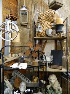 Sweet Salvage display, pulleys, jute netting, industrial