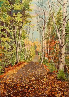 Phil Brake - Fall Path  Available at Gurevich Fine Art info@gurevichfineart.com Silk Painting, Beautiful Words, Paths, Canada, Artists, Fine Art, Fall, Autumn, Tone Words