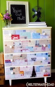 Have an old dresser than needs a bit of an upgrade? Use Mod Podge to decoupage a new life onto the surface! Here are 15 ideas to inspired you.