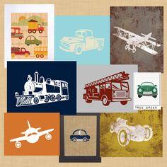 car train plane prints for big boy room