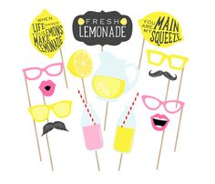 Printable Lemonade Stand Photo Booth Props  by PrintablePropShop