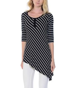 Look what I found on Black & White Diagonal Stripe Asymmetric-Hem Tunic Dyt Type 4 Clothes, Saturated Color, Suits You, Dressing, Tunic Tops, Black And White, Clothing, Women, Shoes