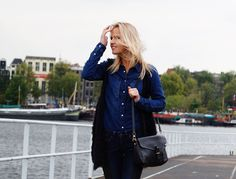 All denim and black leather bag - Bag at You fashion blog - http://bagatyou.com/the-bag-expert/
