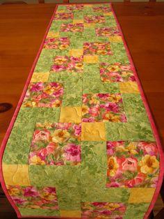 Easter Table Runner, Floral Quilted Table Runner, Patchwork Tablerunner Spring Table Runner. $38.00, via Etsy.