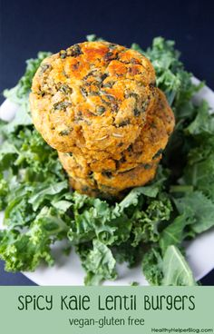 Make my Spicy Kale Lentil Burgers for #NationalKaleDay! via HealthyHelperBlog.com