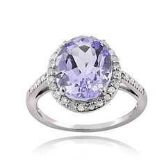 Glitzy Rocks Sterling Silver 1/4ct TDW Diamond Amethyst Cocktail Ring