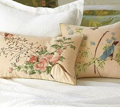 rose u0026 bird embroidered pillow covers potterybarn