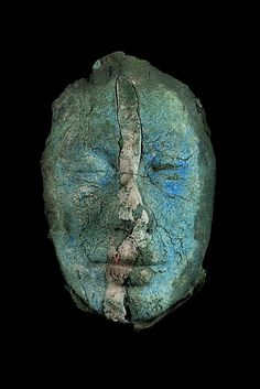 Blue Face with White Stripe  by Stephen De Staebler  porcelain and pigmented stoneware