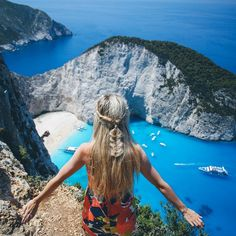 Hands down the prettiest, most unreal view I've ever seen in my life! Pictures don't do it justice  #Navagio #ShipwreckBeach more on my snapchat  amberfillerup and also my Twitter  amberlfillerup