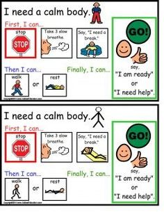 Autism Calm Body Cards- great site, with free IEP goal bank and resources for students with autism