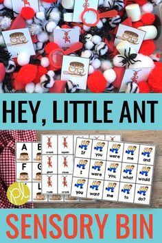 "Hey, Little Ant! Activities - Add literacy and math task cards to a sensory bin for true hands-on learning! Mentor sentence cards, story vocabulary, number bonds, and more are aligned with Hey, Little Ant by Phillip and Hannah Hoose. This book is a wonderful read aloud for character education and your students will LOVE ""digging in"" to explore the story. #sensorybins #heylittleant"