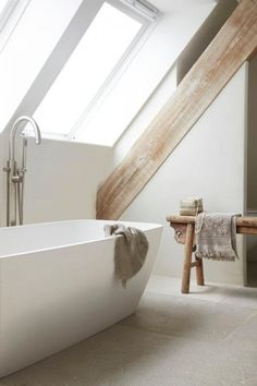 Best Modern Farmhouse Bathroom Decor Ideas - Decorating Ideas - Home Decor Ideas and Tips Attic Bathroom, Laundry In Bathroom, Bathroom Interior, Master Bathroom, Bathroom Taps, Small Bathroom, White Bathroom, Bathroom Modern, Remodel Bathroom