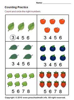 Math Worksheet Preschool The best worksheets image collection Counting Worksheets For Kindergarten, Numbers Kindergarten, Kindergarten Math Worksheets, Math Numbers, Preschool Math, Counting Activities, Nursery Worksheets, Toddler Worksheets, Tracing Worksheets